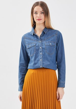 Button-down blouse - denim double stone