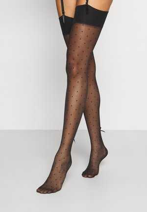 DOTTY SEAMED STOCKINGS WITH FLOWER BOW - Calze parigine - black
