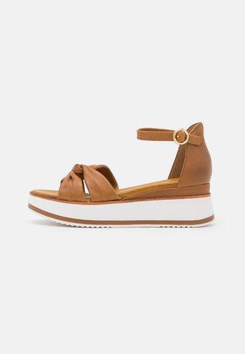 LEATHER - Platform sandals - brown