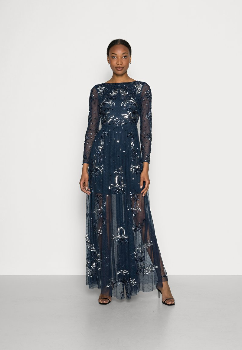 Maya Deluxe - ALL OVER EMBELLISHED SPOT MAXI DRESS - Occasion wear - navy