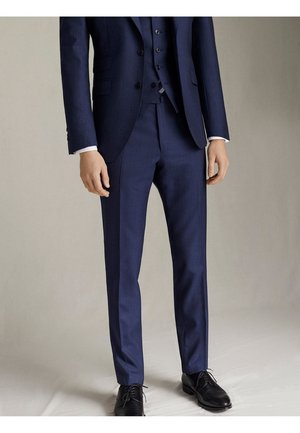 "MARINEBLAUE SLIM-FIT-HOSE AUS WOLLE ""SUPER 120"" MIT STRUKTURMUST - Suit trousers - blue"