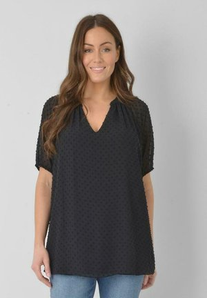 DOBBY TEXTURED - Blouse - black
