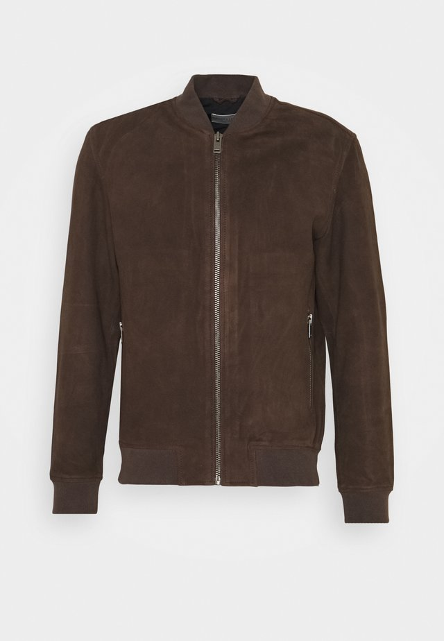 SLH BOMBER SUEDE - Giacca di pelle - coffee bean