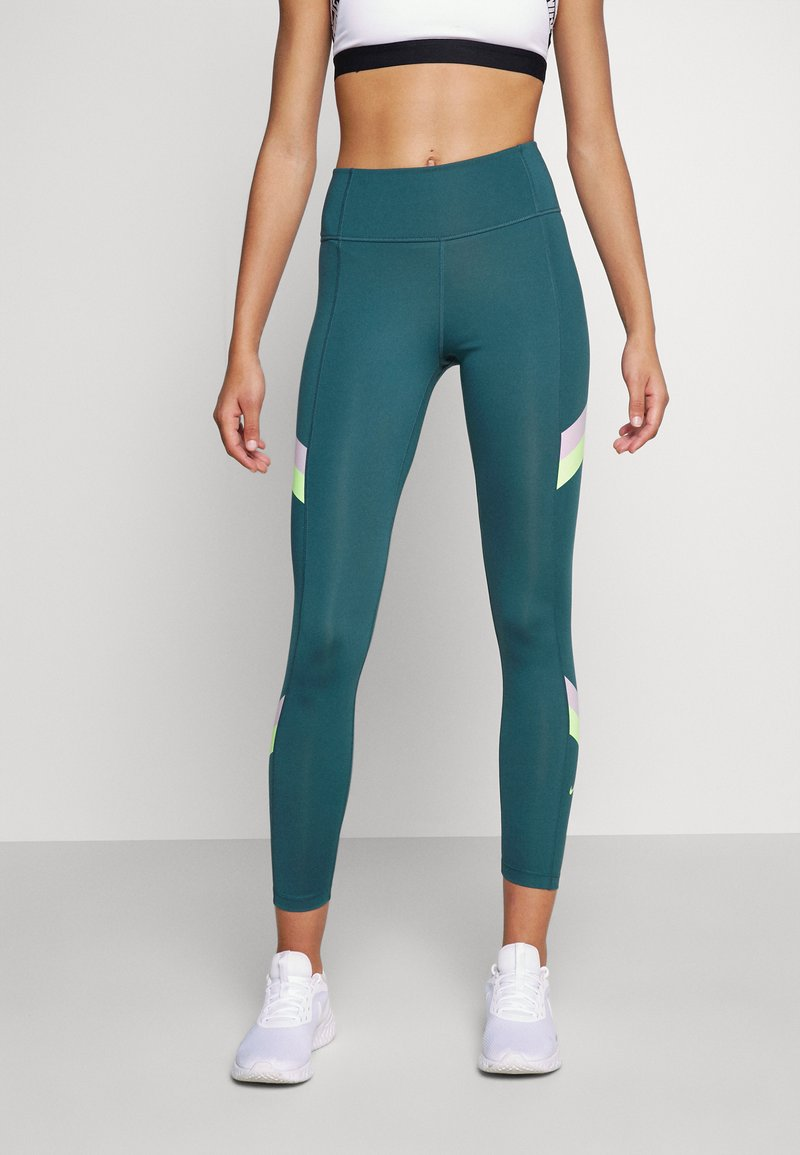 Nike Performance - ONE STRIPE 7/8  - Tights - dark teal green/lime glow