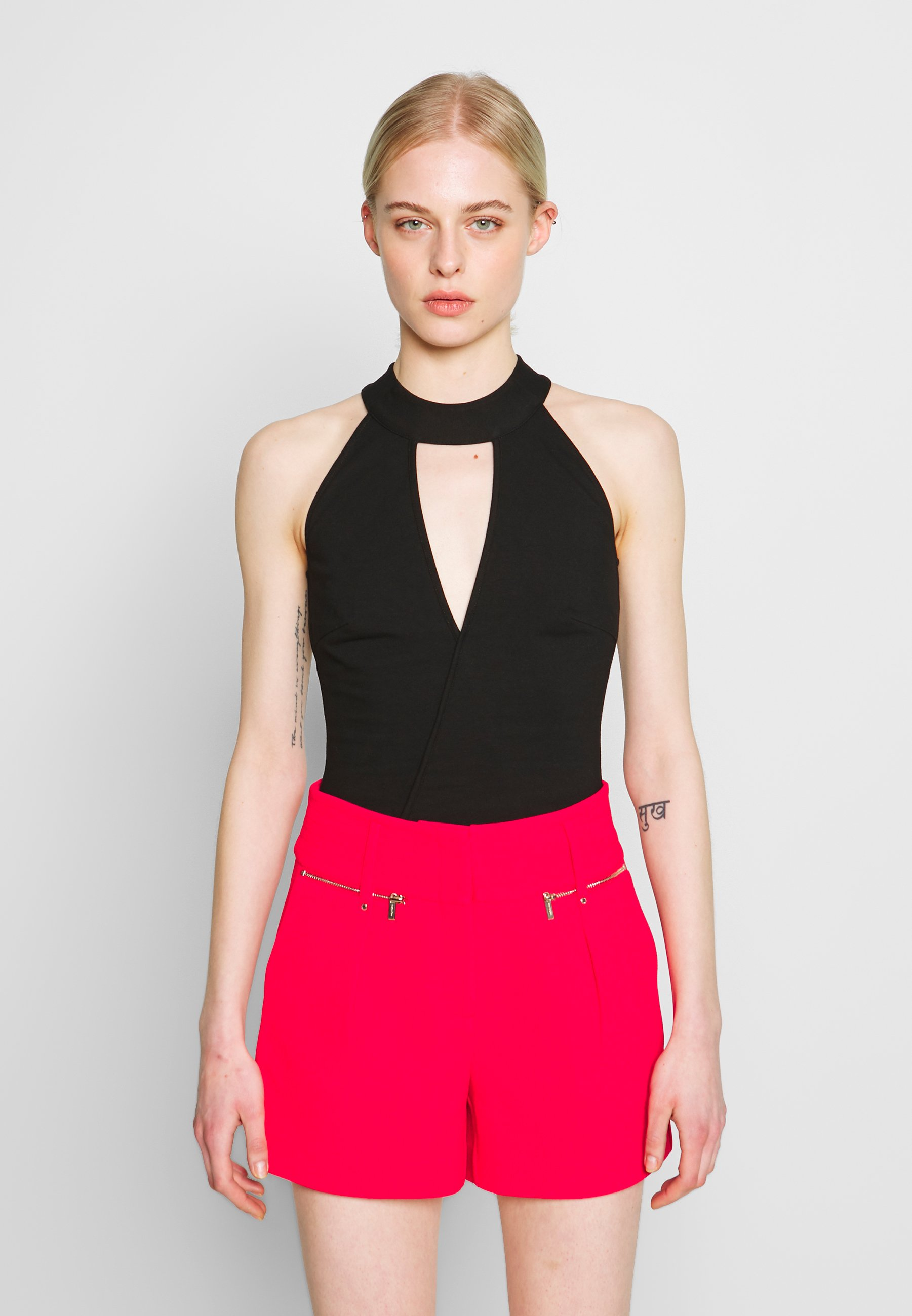 Lost Ink Petite HALTER NECK WRAP DETAIL BODY - Topper - pink