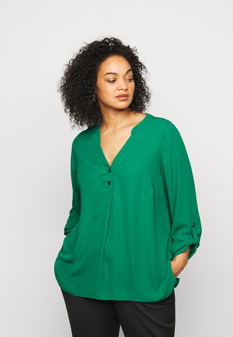 Dorothy Perkins Curve - CURVE PLAIN ROLL SLEEVE  - Long sleeved top - green