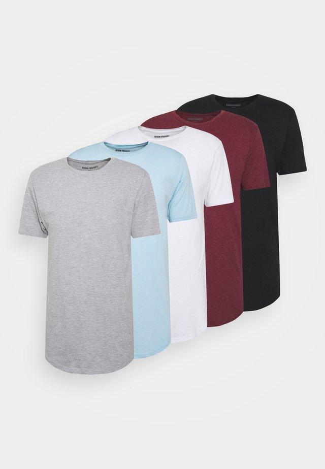 TEE 5 PACK - T-shirt basique - black/white/lgm/light blue melange/bordeaux melange