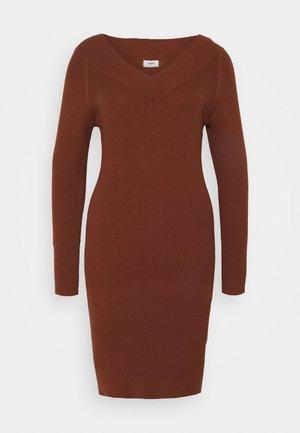 OBJMANJA DRESS - Jumper dress - brown patina
