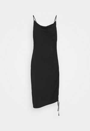 DRAPED HIGH SLIT MIDI DRESS - Koktejlové šaty / šaty na párty - black
