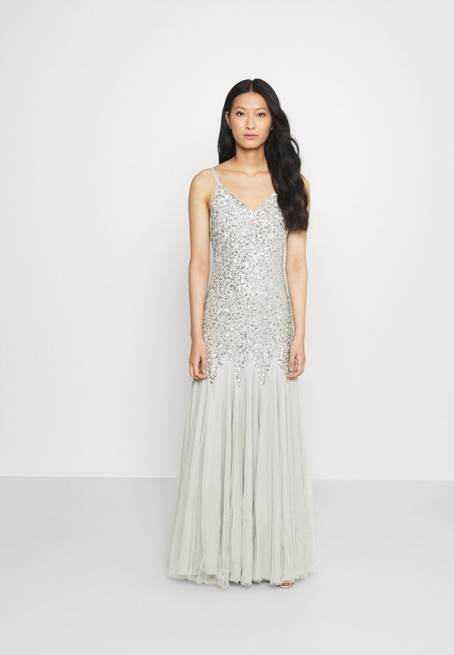 DELICATE SEQUIN FISHTAIL MAXI DRESS - Galajurk - soft grey