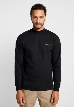 MOCKNECK SCRIPT EMBROIDERY - Long sleeved top - black/white