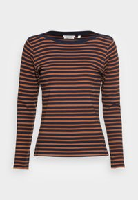 TOM TAILOR DENIM - INTERLOCK WITH CONTRAST NECK - Long sleeved top - blue/brown - 3