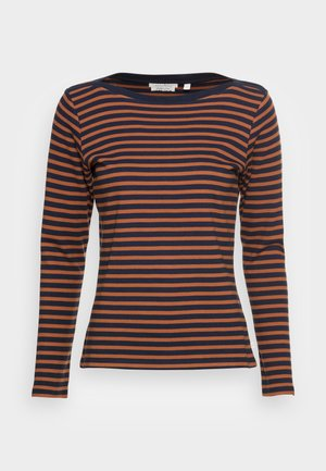 INTERLOCK WITH CONTRAST NECK - Maglietta a manica lunga - blue/brown