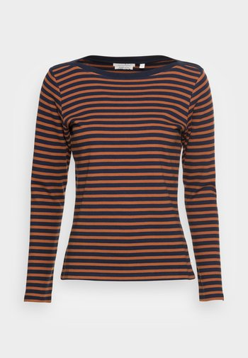 INTERLOCK WITH CONTRAST NECK - Long sleeved top - blue/brown