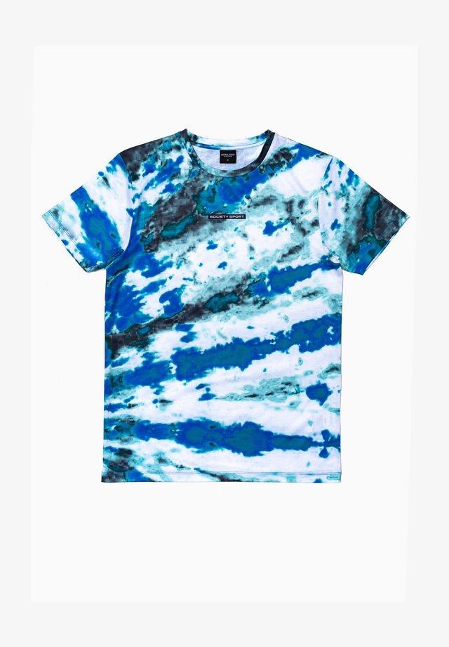 Print T-shirt - white/teal