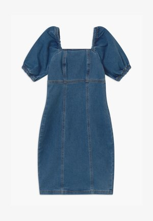 PUFF SLEEVE - Denimové šaty - blue