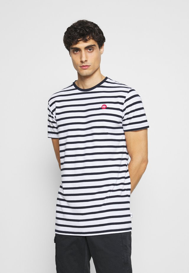 Navey - T-shirt con stampa - navy white
