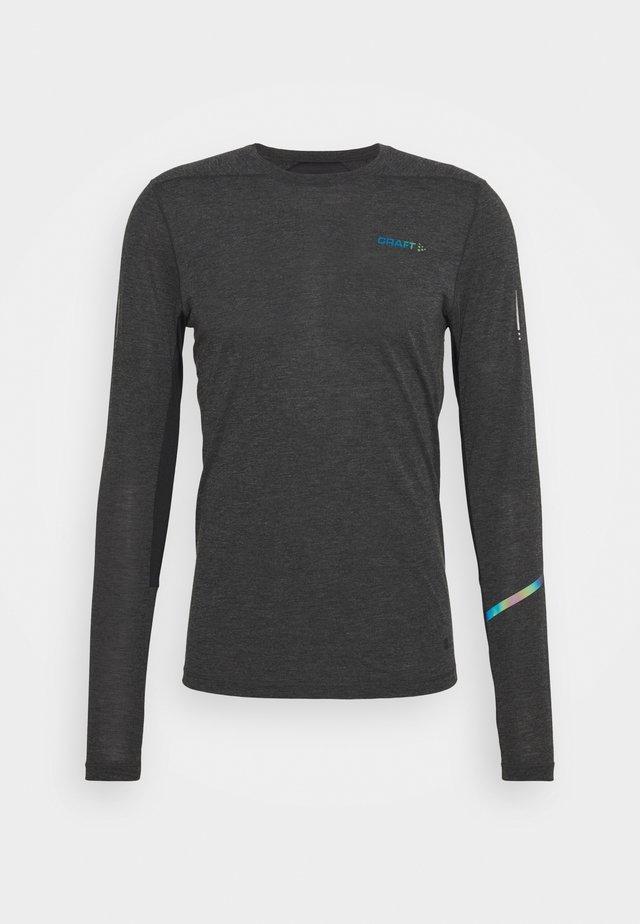 TEE  - Camiseta de manga larga - black melange/monument