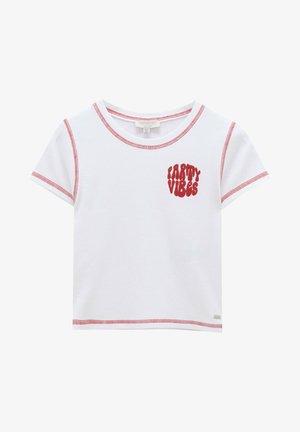 MIT STICKEREIEN UND FARBLICH  - Print T-shirt - off-white