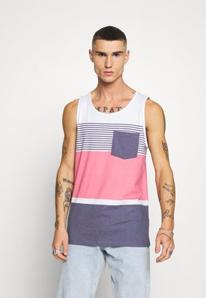 MOSES TANK - Linne - white/light pink/dark blue