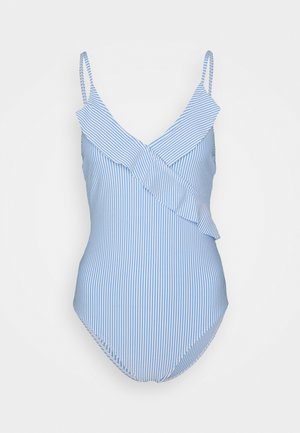 STRIBA FRILL SWIMSUIT - Swimsuit - blue