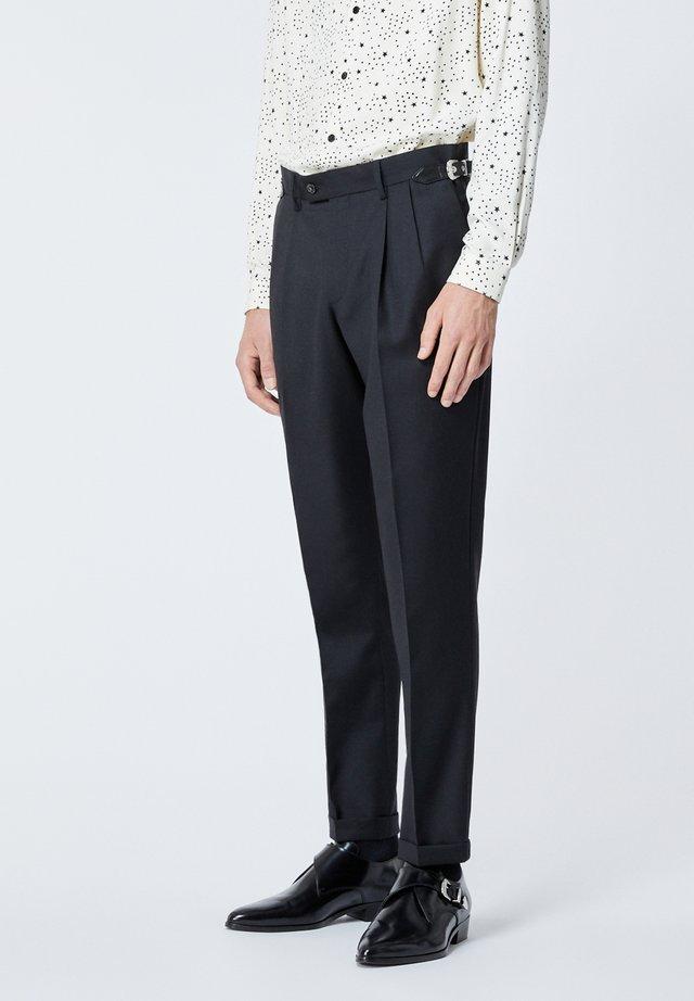 PANTALON EN LAINE À CEINTURE WESTERN - Trousers - black