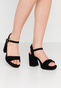 New Look Wide Fit - WIDE FIT ZEBRA - High heeled sandals - black - 0