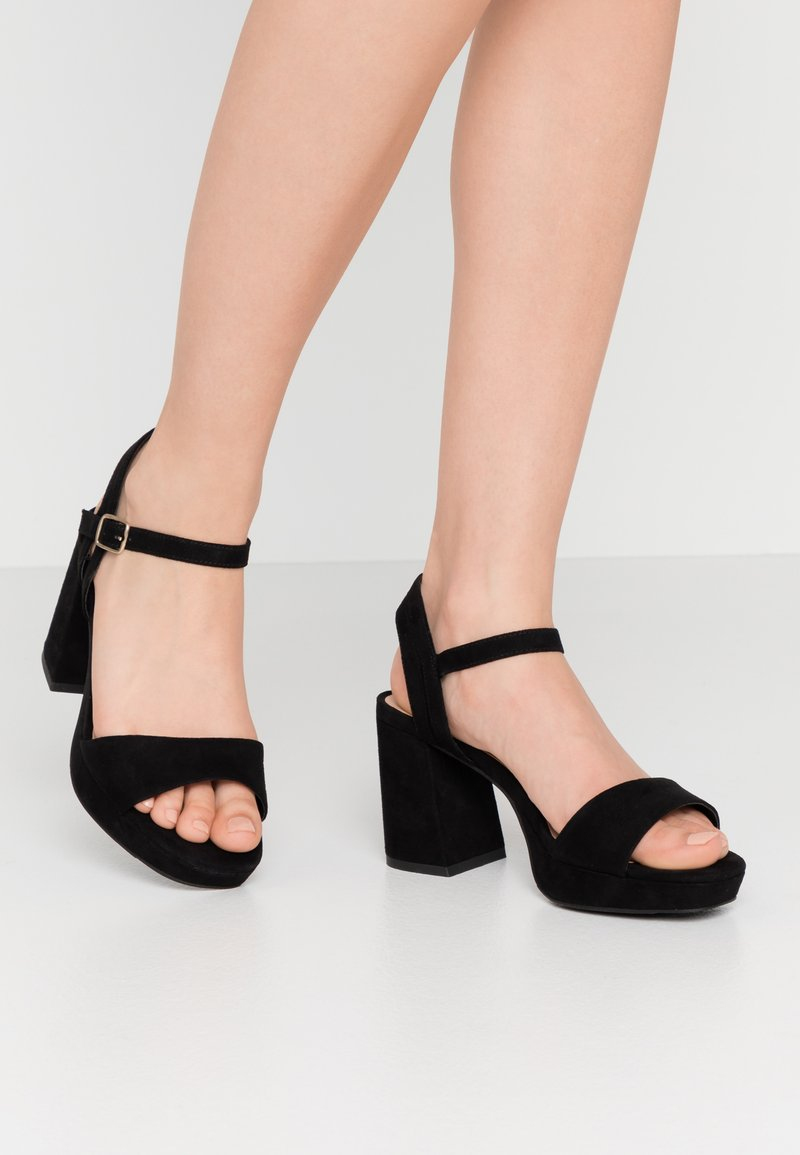 New Look Wide Fit - WIDE FIT ZEBRA - High heeled sandals - black