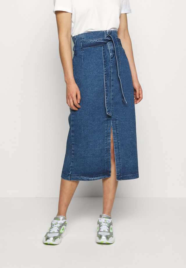 BELTED PAPERBAG MIDI SKIRT - Jupe trapèze - dark denim