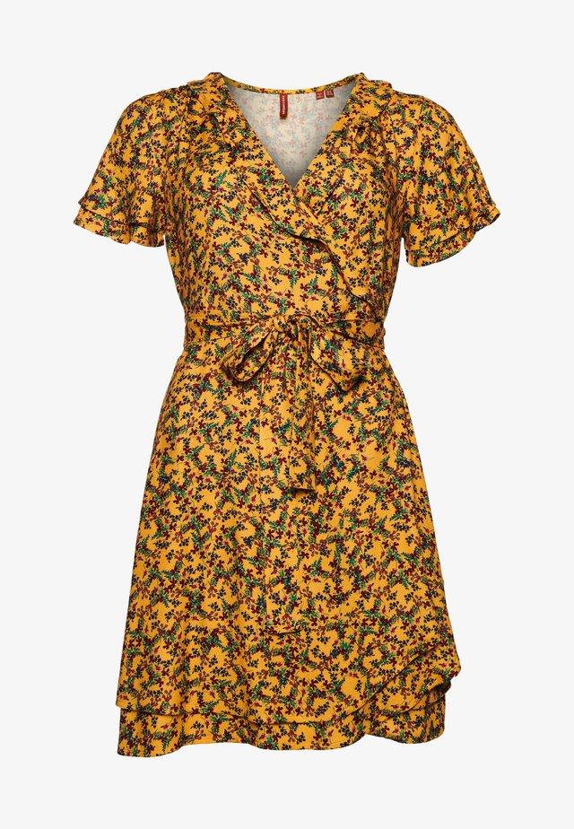 Korte jurk - autumn ditsy gold