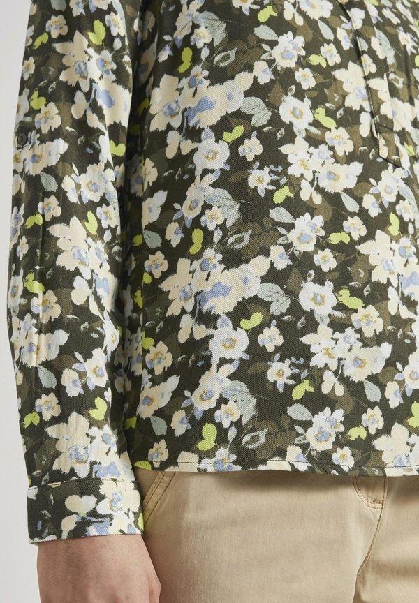 TOM TAILOR BLOUSE LONGSLEEVE PRINTED - Bluzka - small khaki floral design/oliwkowy QOXH