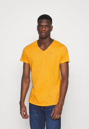 SLIM JASPE V NECK - T-shirts - yellow