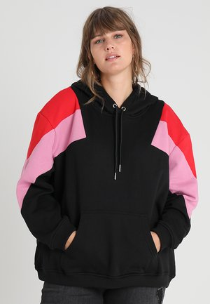 LADIES TONE BLOCK HOODY - Hoodie - black/firered/coolpink