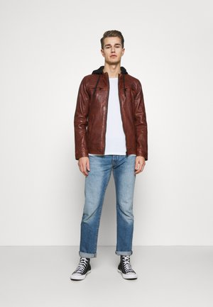 STEADY - Leather jacket - cognac