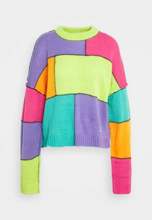COLOURBLOCK PANELLED JUMPER WITH EXPOSED SEAMS - Jumper - multi