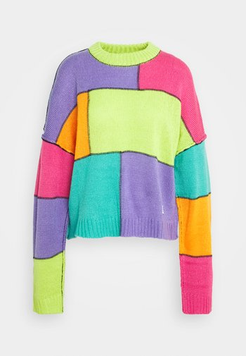 COLOURBLOCK PANELLED JUMPER WITH EXPOSED SEAMS