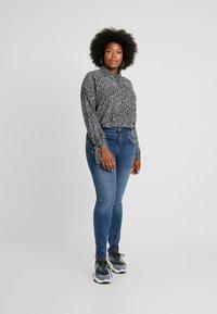 Glamorous Curve - DALMATIAN SPOT TIE SLEEVE - Button-down blouse - monochrome - 1