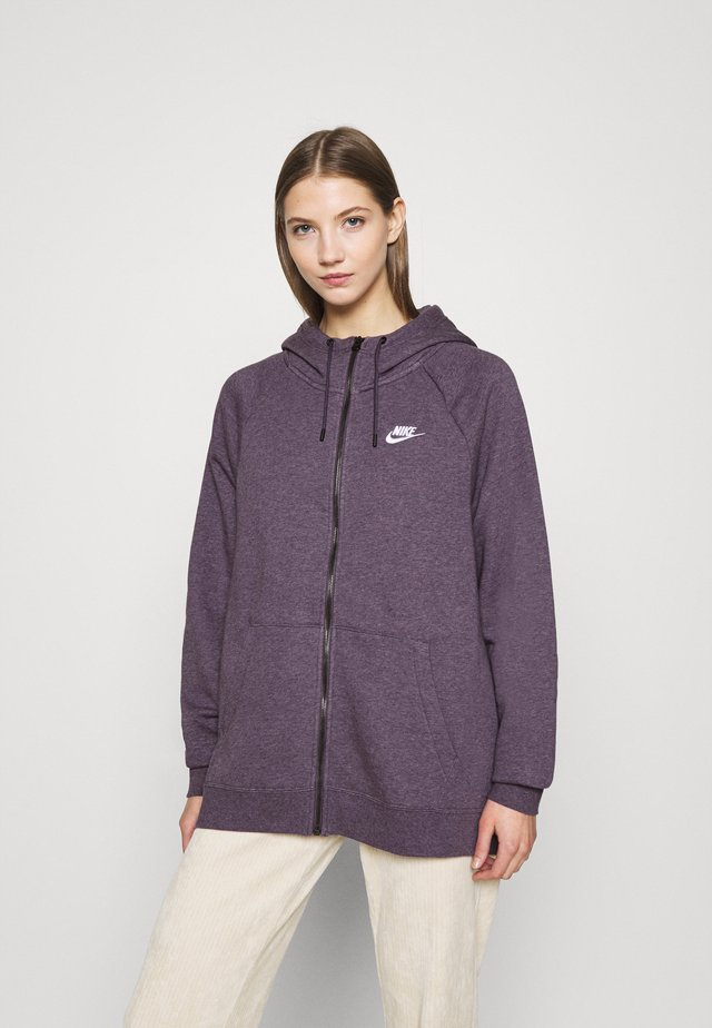 HOODY PLUS - veste en sweat zippée - dark raisin/heather/white