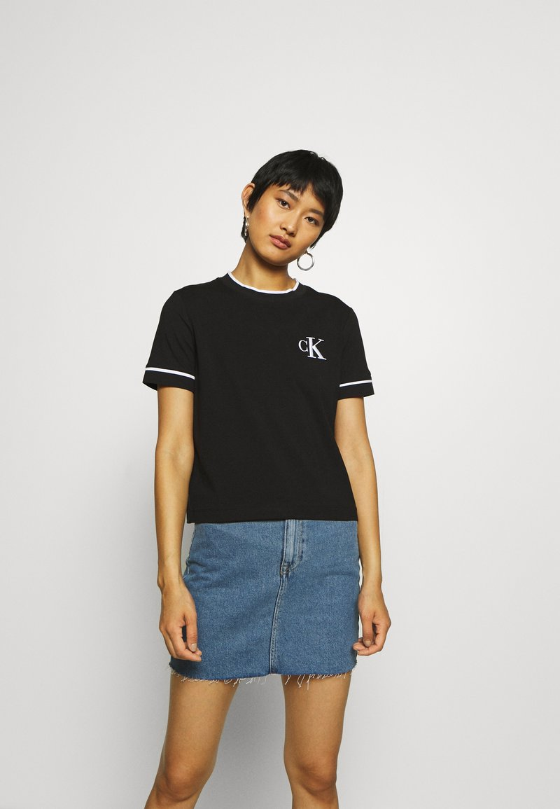 Calvin Klein Jeans - EMBROIDERY TIPPING TEE - Print T-shirt - black