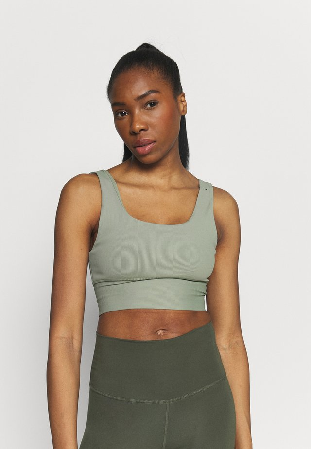 SCOOP NECK VESTLETTE - Toppe - basil green rib