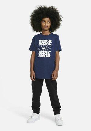 Print T-shirt - midnight navy white