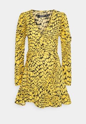 WRAP FRONT TIE WAIST SKATER DRESS - Day dress - yellow