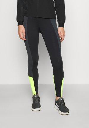 MALLAS LIFT - Legging - black/titanium/yellow