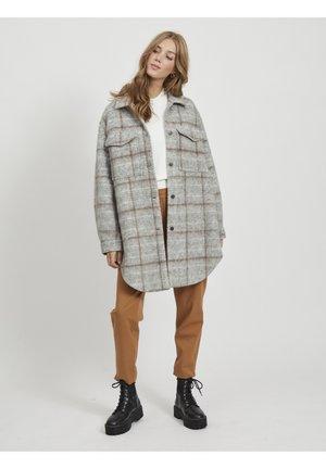 OBJSOLA LONG - Short coat - light grey melange