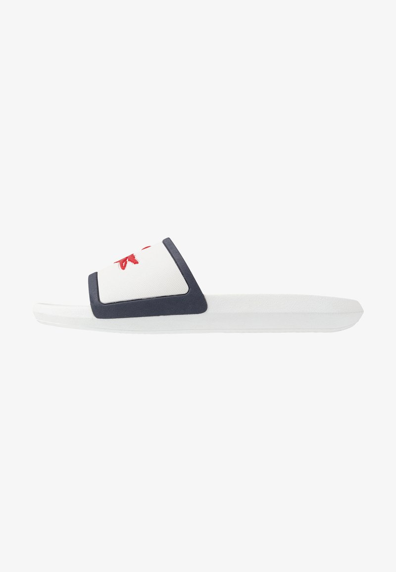 Lacoste - CROCO SLIDE - Pool slides - white/navy/red