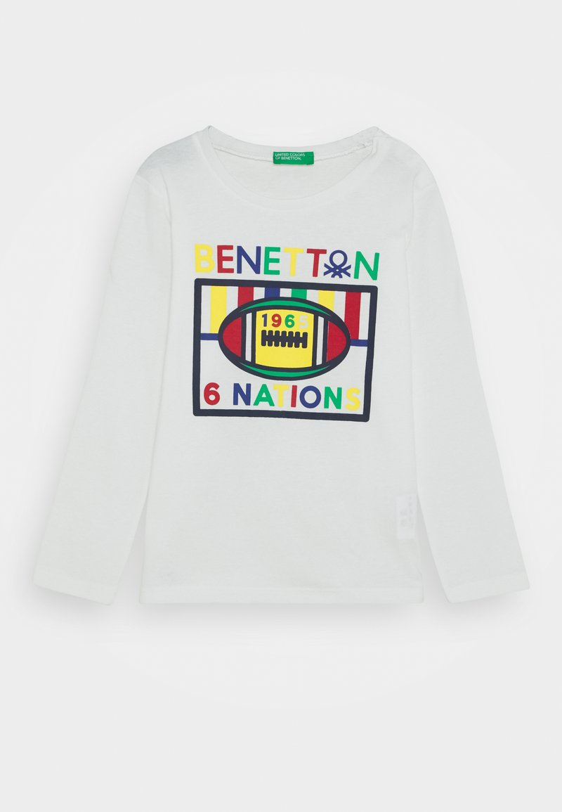 Benetton - Top sdlouhým rukávem - white