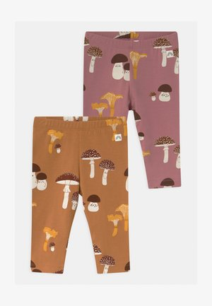 2 PACK - Leggings - Trousers - dusty brown/dusty pink