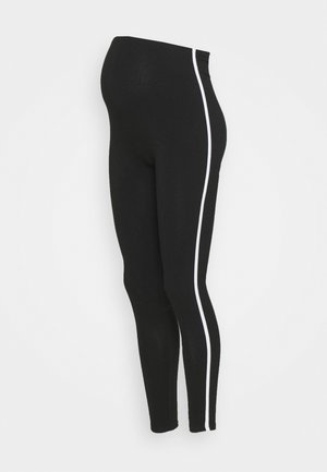 WHITE SIDE STRIPE - Legginsy - black
