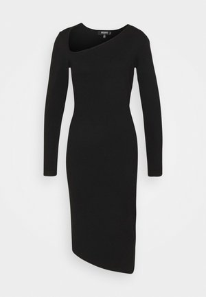 ASYMMETRIC NECK AND HEM MIDI DRESS - Jumper dress - black