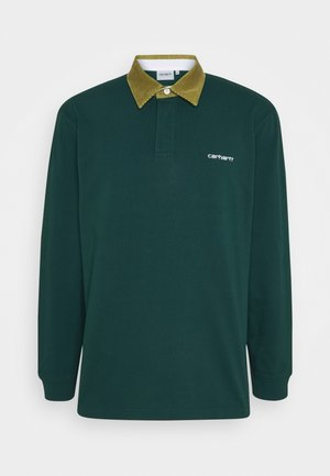 RUGBY POLO - Polo shirt - bottle green / hamilton brown / white